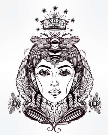 spiritual: Hand drawn beautiful artwork of Queen Bee portriat as a female. Fantasy, religion, spirituality, occultism, tattoo art, coloring books. Isolated vector illustration. Illustration