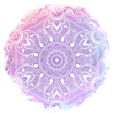 ayurveda: Hand drawn ornate paisley mandala over watercolor. Ideal ethnic background, tattoo art, yoga and textiles. Detailed abstract pattern. Invitation, t-shirt print, wedding card. Vector illustration. Illustration