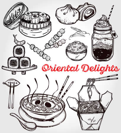 sum: Oriental foods Set. Poster in linear style. Isolated vector illustration. Hand drawn elements of Chinese. Japanese, Vietnamese, Taiwanese and Thai cuisine . Menu template for restaurant or take out.
