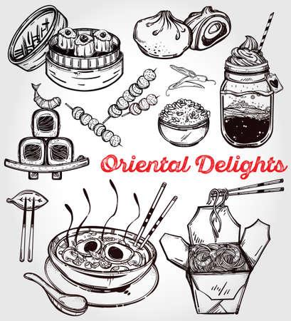 chinesisch essen: Oriental Lebensmittel ein. Poster in linearen Stil. Isolierte Vektor-Illustration. Hand Elemente der chinesischen gezogen. Japanisch, Vietnamesisch, Taiwanesisch und Thai-Küche. Menüschablone für Restaurant oder herausnehmen.