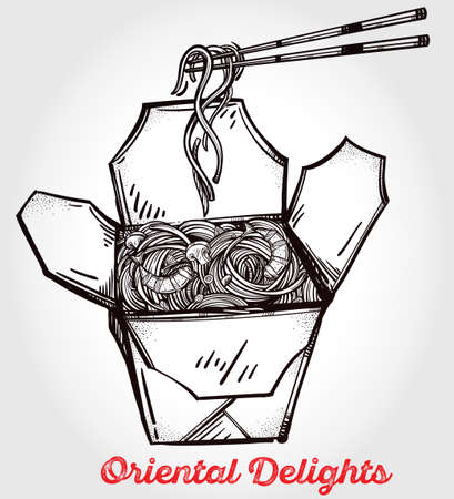 take out: Chinese restaurant take out box with noodles and chopsticks. Poster in linear style. Isolated vector illustration. Menu template for restaurant or take out.