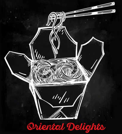 out of the box: Chinese restaurant take out box with noodles and chopsticks. Poster in linear style. Isolated vector illustration. Menu template for restaurant or take out.