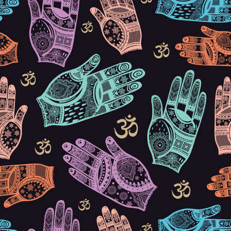 ohm: Seamless vector tribal texture. Vintage ethnic seamless backdrop. Boho Hands and Ohm. Vintage boho fashion style pattern background with tribal shape elements.