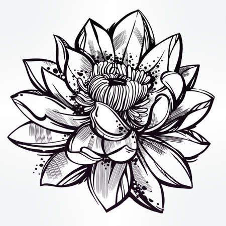 tatouage fleur: Vector set of hand drawn fleur de lotus. Lily motif, tatouage �l�ment de design. concept art Bouquet. Isolated illustration de vecteur dans le style d'art en ligne.