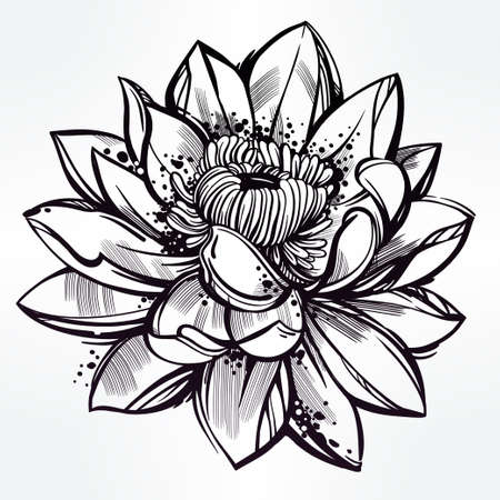 flower: Vector set of hand drawn lotus flower. Lily motif, tattoo design element. Bouquet concept art. Isolated vector illustration in line art style.