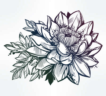 lilies: Vector set of hand drawn lotus flower. Lily motif, tattoo design element. Bouquet concept art. Isolated vector illustration in line art style.