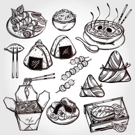 taiwanese: Oriental foods Set. Poster in linear style. Isolated vector illustration. Hand drawn elements of Chinese. Japanese, Vietnamese, Taiwanese and Thai cuisine . Menu template for restaurant or take out.