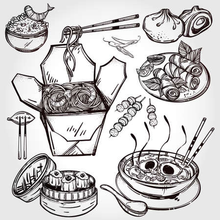 food illustration: Chinese foods Set. Poster in linear style. Isolated vector illustration. Hand drawn elements of Chinese, Taiwanese and Hong Kong cuisine . Menu template for restaurant or take out. Illustration