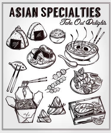 fried noodles: Oriental foods Set. Poster in linear style. Isolated vector illustration. Hand drawn elements of Chinese. Japanese, Vietnamese, Taiwanese and Thai cuisine . Menu template for restaurant or take out.