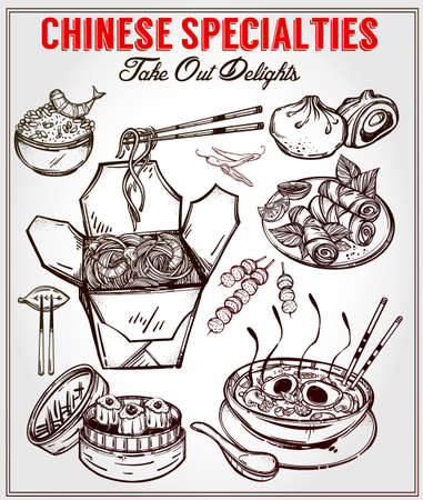taiwanese: Chinese foods Set. Poster in linear style. Isolated vector illustration. Hand drawn elements of Chinese, Taiwanese and Hong Kong cuisine . Menu template for restaurant or take out. Illustration