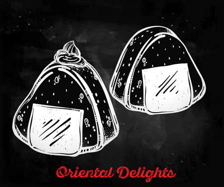 take out: Onigiri icon. Poster in linear style. Isolated vector illustration. Hand drawn element of Japanese cuisine . Menu template for restaurant or take out.