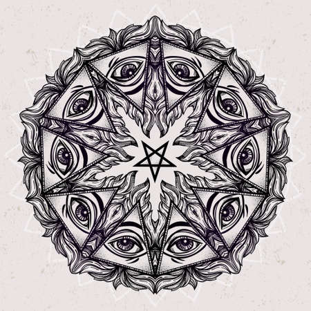 occultism: Vector satanic eye mandala symbol. Tattoo design. Vintage hand drawn freedom, psyhodelic, spiritual, occultism and mason sign. Eye of devil. Isolated vector illustration .