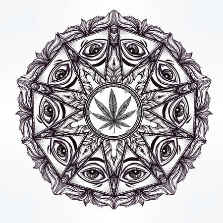 occultism: Vector cannabis trip eye mandala symbol. . Tattoo design. Vintage hand drawn freedom, psyhodelic, spiritual, occultism and mason sign. Eye of providence. Isolated vector illustration . Illustration