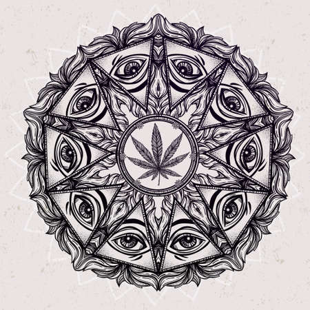 eye of providence: Vector cannabis trip eye mandala symbol. . Tattoo design. Vintage hand drawn freedom, psyhodelic, spiritual, occultism and mason sign. Eye of providence. Isolated vector illustration . Illustration