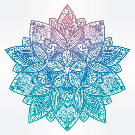 gitana: Dibujado a mano adornado Mandala floral de Paisley. Ideal étnica de fondo, el arte del tatuaje, el yoga y los textiles. ilustración del vector.