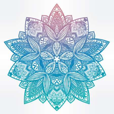 Hand drawn ornate paisley floral mandala. Ideal ethnic background, tattoo art, yoga and textiles. Isolated vector illustration.
