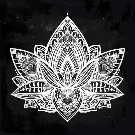 Vector ornamental Lotus flower, ethnic art, patterned Indian paisley. Hand drawn illustration. Invitation element.  Tattoo, astrology, alchemy, boho and magic symbol. Illustration