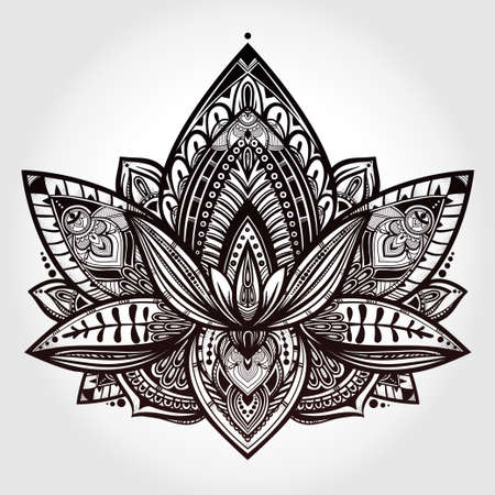Vector ornamental Lotus flower, ethnic art, patterned Indian paisley. Hand drawn illustration. Invitation element.  Tattoo, astrology, alchemy, boho and magic symbol. Illustration