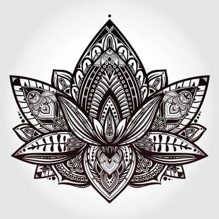 tatouage: Vector Lotus ornement fleur, art ethnique, motif paisley Indien. Hand drawn illustration. élément Invitation. Tatouage, l'astrologie, l'alchimie, boho et le symbole de la magie.