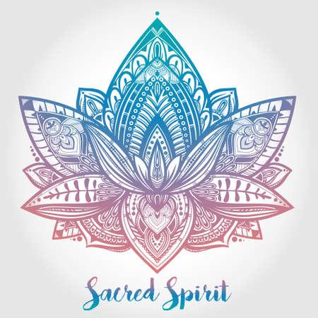 tatouage fleur: Vector Lotus ornement fleur, art ethnique, motif paisley Indien. Hand drawn illustration. élément Invitation. Tatouage, l'astrologie, l'alchimie, boho et le symbole de la magie.