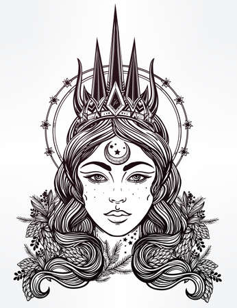 occultism: Hand drawn beautiful artwork of fantasy the Nothern Queen portriat. Winter, fantasy, spirituality, tarot, occultism, tattoo art, coloring books. Isolated vector illustration. Illustration