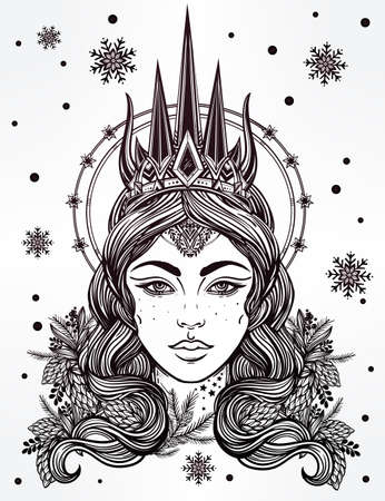 occult: Hand drawn beautiful artwork of fantasy Snow Queen portriat. Winter, fantasy, spirituality, occultism, tattoo art, coloring books. Isolated vector illustration.