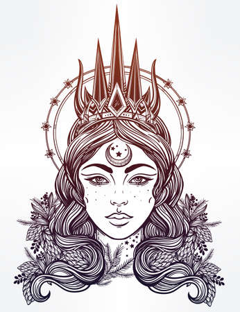 tattoo face: Hand drawn beautiful artwork of fantasy the Nothern Queen portriat. Winter, fantasy, spirituality, tarot, occultism, tattoo art, coloring books. Isolated vector illustration. Illustration