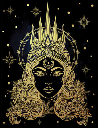 priestess: Hand drawn beautiful artwork of fantasy the Nothern Queen portriat. Winter, fantasy, spirituality, tarot, occultism, tattoo art, coloring books. Isolated vector illustration. Illustration