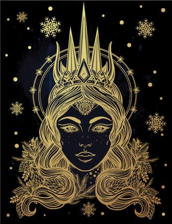 fantasia: Desenhado à mão arte bonita da fantasia da rainha da neve portriat. livros inverno, fantasia, espiritualidade, ocultismo, arte tatuagem, corantes. Ilustração do vetor isolado.
