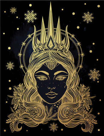 occultism: Hand drawn beautiful artwork of fantasy Snow Queen portriat. Winter, fantasy, spirituality, occultism, tattoo art, coloring books. Isolated vector illustration.