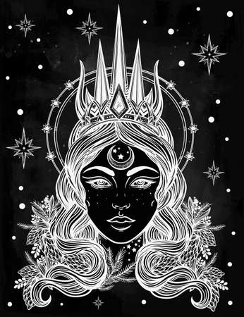 crown tattoo: Hand drawn beautiful artwork of fantasy the Nothern Queen portriat. Winter, fantasy, spirituality, tarot, occultism, tattoo art, coloring books. Isolated vector illustration. Illustration