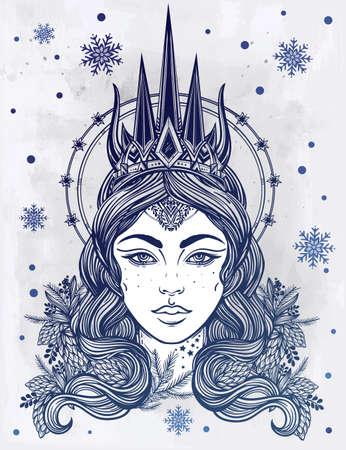 corona navidad: Dibujado a mano hermosas obras de arte de la fantasía de Snow Queen Portriat. libros de invierno, fantasía, espiritualidad, ocultismo, arte del tatuaje, colorantes. ilustración del vector.