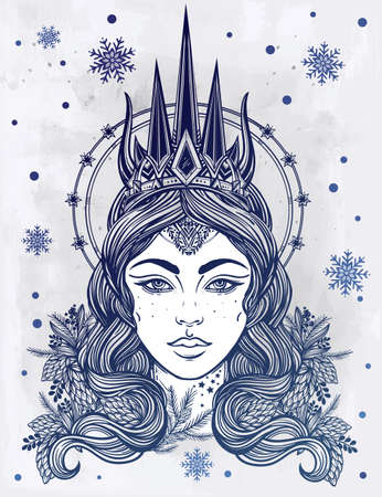 ice queen: Hand drawn beautiful artwork of fantasy Snow Queen portriat. Winter, fantasy, spirituality, occultism, tattoo art, coloring books. Isolated vector illustration.