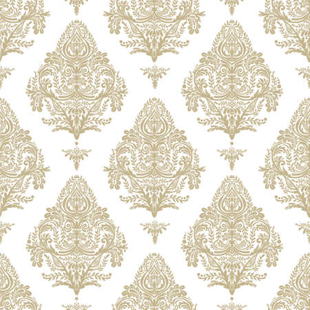 the renaissance: Seamless vintage vector background. Wallpaper baroque pattern, for interior and textile design. Elegant linear style floral ornament, isolated. Illustration
