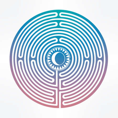 labyrinth: Hand drawn maze labyrinth with sun in it. Vector illustration isolated. Tattoo design, mystic magic symbol for your use.  Maze serves as a metaphor.