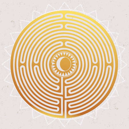 round: Hand drawn maze labyrinth with sun in it. Vector illustration isolated. Tattoo design, mystic magic symbol for your use.  Maze serves as a metaphor.