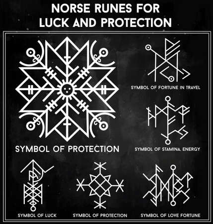 norse: Futhark norse runes set. Magic symbols used as scripted talismans for luck love and protection. Vector illustration isolated. Ethnic tattoo design, mystic tribal symbols set for your use.