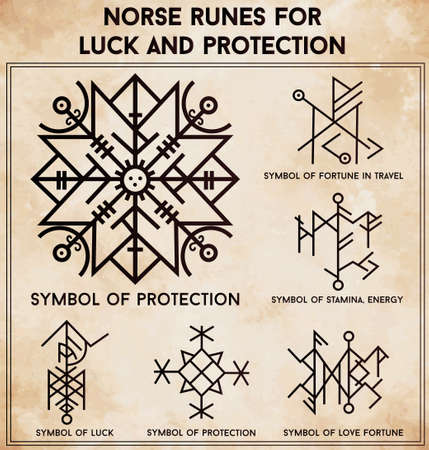 germanic people: Futhark norse runes set. Magic symbols used as scripted talismans for luck love and protection. Vector illustration isolated. Ethnic tattoo design, mystic tribal symbols set for your use.