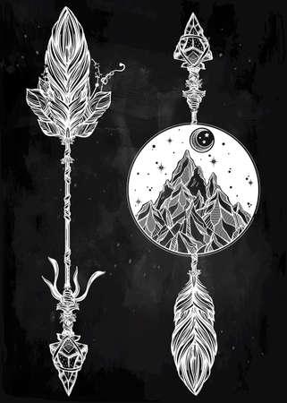 style template: Ethnic boho decorative arrows set in tattoo style.Tribal template in boho style.  Isolated Vector illustration. Invitation element. Tattoo, travel, adventure, meditation symbol. The great outdoors.
