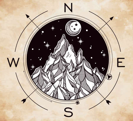 the great outdoors: Hand drawn mountain wind rose compass. Tribal template in boho style.  Isolated Vector illustration. Invitation element. Tattoo, travel, adventure, meditation symbol. The great outdoors. Illustration