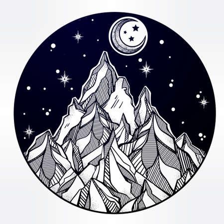 the great outdoors: Hand drawn mountain and the starry night sky. Tribal template in boho style.  Isolated Vector illustration. Invitation element. Tattoo, travel, adventure, meditation symbol. The great outdoors.