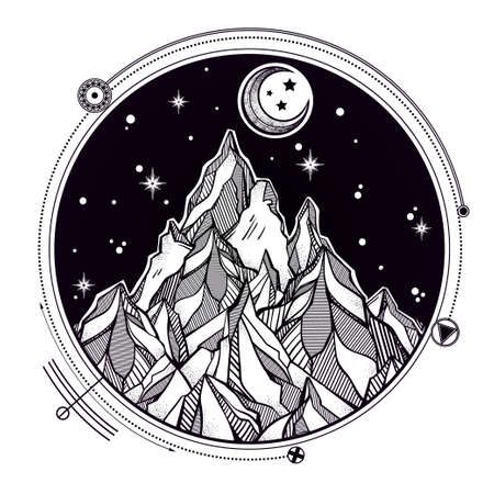 the great outdoors: Hand drawn mountain and the starry night sky with sacred geometry elements.  Isolated Vector illustration. Invitation element. Tattoo, travel, adventure, meditation symbol. The great outdoors. Illustration