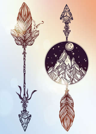 occult: Ethnic boho decorative arrows set in tattoo style.Tribal template in boho style.  Isolated Vector illustration. Invitation element. Tattoo, travel, adventure, meditation symbol. The great outdoors.