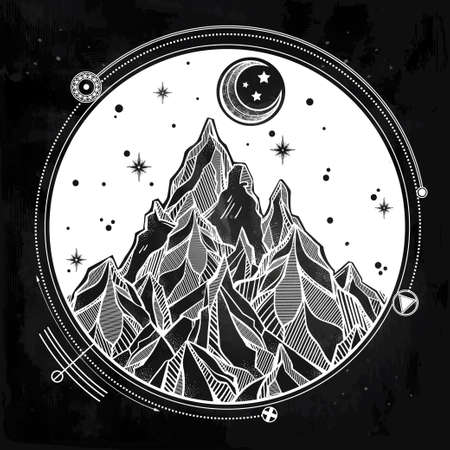 the great outdoors: Hand drawn mountain and the starry night sky with sacred geometry elements.  Isolated Vector illustration. Invitation element. Tattoo, travel, adventure, meditation symbol. The great outdoors. Stock Photo