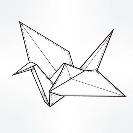 art and craft: Origami crane bird. Paper crane stylized triangle polygonal model. Hand drawn isolated vector illustration. Invitation element. Tattoo, oriental, boho, luck and hope symbol. Illustration