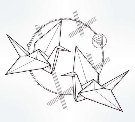 cranes: Origami crane birds. Paper crane stylized triangle polygonal model. Hand drawn isolated vector illustration. Invitation element. Tattoo, oriental, boho, luck and hope symbol.