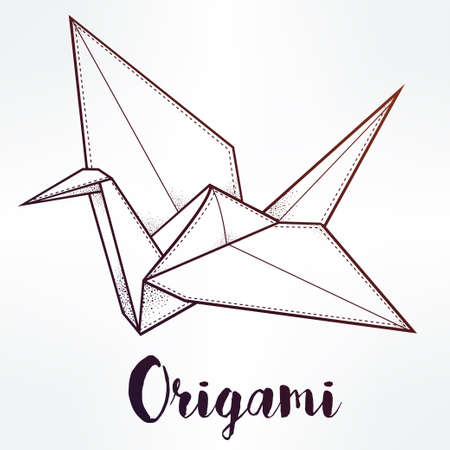 origami pattern: Origami crane bird. Paper crane stylized triangle polygonal model. Hand drawn isolated vector illustration. Invitation element. Tattoo, oriental, boho, luck and hope symbol. Illustration