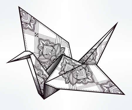 origami bird: Origami  ornate crane bird. Paper crane stylized triangle polygonal model with paisley details . Hand drawn isolated vector illustration. Invitation element. Tattoo, oriental, boho, hope symbol.