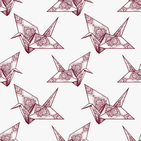 origami pattern: Origami ornate crane vector seamless pattern. Endless texture can be used for wallpaper, pattern fills, web page background, surface textures. Vector monochrome geometric ornate oriental birds . Illustration