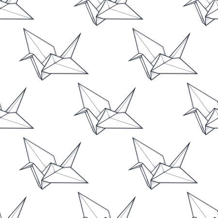 origami pattern: Origami crane vector seamless pattern. Endless texture can be used for wallpaper, pattern fills, web page background, surface textures. Vector monochrome geometric ornate oriental birds . Illustration